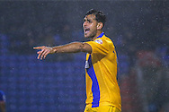 Mansfield Town defender Ryan Tafazolli  during the The FA Cup first round match between Oldham Athletic and Mansfield Town at Boundary Park, Oldham, England on 17 November 2015. Photo by Simon Davies.