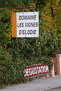 Domaine Les Vignes d'Elodie degustation, wine tasting. Maury. Roussillon. The wine shop and tasting room. France. Europe.