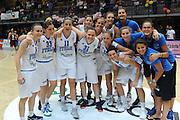 LATINA 30 GIUGNO 2012<br /> BASKET <br /> ITALIA - LETTONIA<br /> NELLA FOTO ESULTANZA TEAM<br /> FOTO CIAMILLO