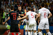 Ivan Perisic of Croatia scores the 1-1 equalizing goal despite Kyle Walker of England during the 2018 FIFA World Cup Russia, semi-final football match between Croatia and England on July 11, 2018 at Luzhniki Stadium in Moscow, Russia - Photo Thiago Bernardes / FramePhoto / ProSportsImages / DPPI