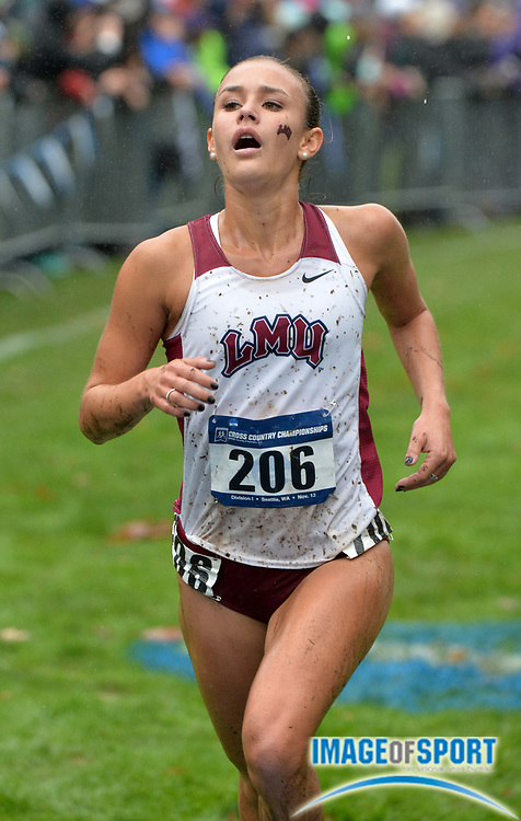 Nov 13, 2015; Seattle, WA, USA; Danielle Shanahan of Loyola Marymount places 13th in the womens race in 21:02 during the 2015 NCAA West Regional cross country championships at Jefferson Park Golf Course.