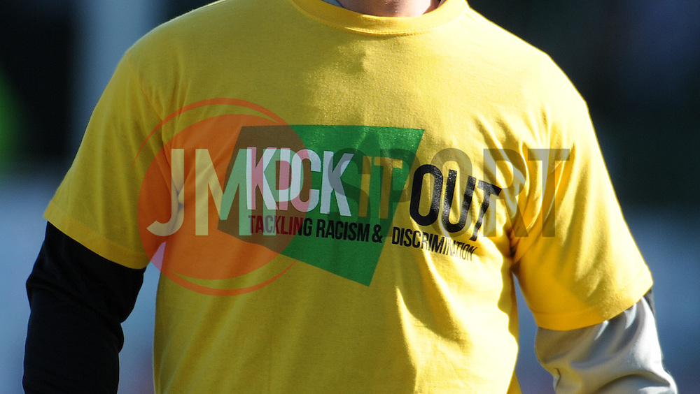Kick it Out shirts are worn by Yeovil Town players  - Photo mandatory by-line: Harry Trump/JMP - Mobile: 07966 386802 - 07/03/15 - SPORT - Football - Sky Bet League One - Yeovil Town v Oldham Athletic - Huish Park, Yeovil, England.
