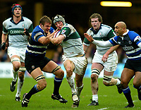 Photo:Scott Heavey/Back Page Images.<br /> Bath v London Irish. Zurich Premiership. 28/11/2004.<br /> Andy Beattie of Bath (L) stops Declan Danaher in his tracks<br /> NORWAY ONLY