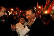Cavaco SIlva and his wife Maria Cavaco Silva during a campaign happening.