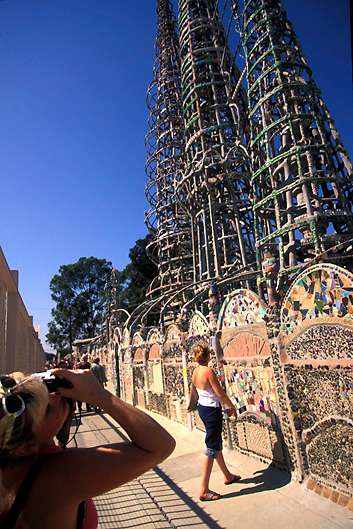 Tourists at Watts Towers Los Angeles Southern California USA
