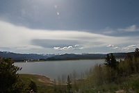 Lake Granby and clouds. Just outside Rocky Mountain National Park. Image taken with a Nikon D2xs camera and 14 mm f/2.8 lens (ISO 100, 14 mm, f/11, 1/350 sec).