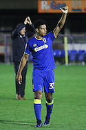AFC Wimbledon striker Lyle Taylor (33) during the EFL Trophy match between AFC Wimbledon and Plymouth Argyle at the Cherry Red Records Stadium, Kingston, England on 4 October 2016. Photo by Stuart Butcher.