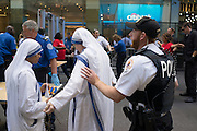 Security screening during the Pope's visit, New York, NY on Thursday, Sept. 24, 2015.<br /> <br /> Photograph by Andrew Hinderaker