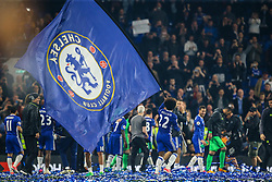 Willian of Chelsea runs with the Chelsea flag as they celebrate at the end of the match, final score Chelsea 4-3 Watford - Mandatory by-line: Jason Brown/JMP - 15/05/2017 - FOOTBALL - Stamford Bridge - London, England - Chelsea v Watford - Premier League