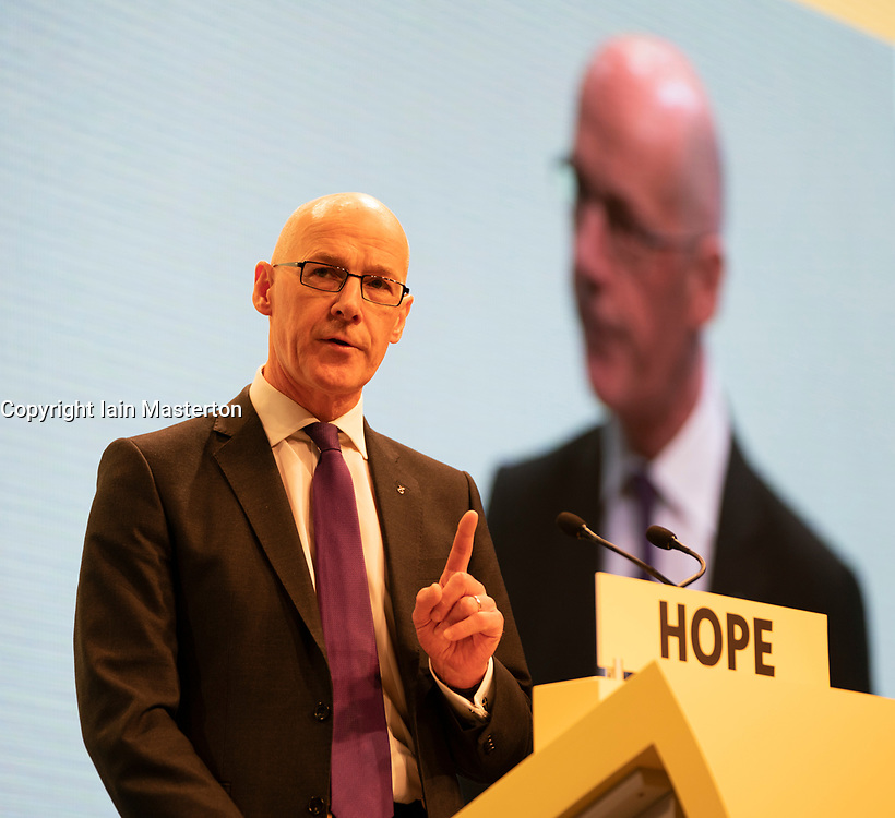 Edinburgh, Scotland, UK. 27 April, 2019. SNP ( Scottish National Party) Spring Conference takes place at the EICC ( Edinburgh International Conference Centre) in Edinburgh. Pictured; Deputy First Minister John Swinney gives address to delegates at conference on the first day.