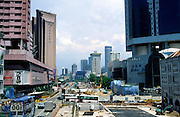 Urban cityscape with redevelopment construction work in central Singapore