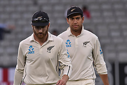 March 26, 2018 - Auckland, Auckland, New Zealand - Kane Williamson (L) and Ross Taylor(R)  of Blackcaps head to the dressing room at meal break   during Day Five of the First Test match between New Zealand and England at Eden Park in Auckland on Mar 26, 2018. (Credit Image: © Shirley Kwok/Pacific Press via ZUMA Wire)