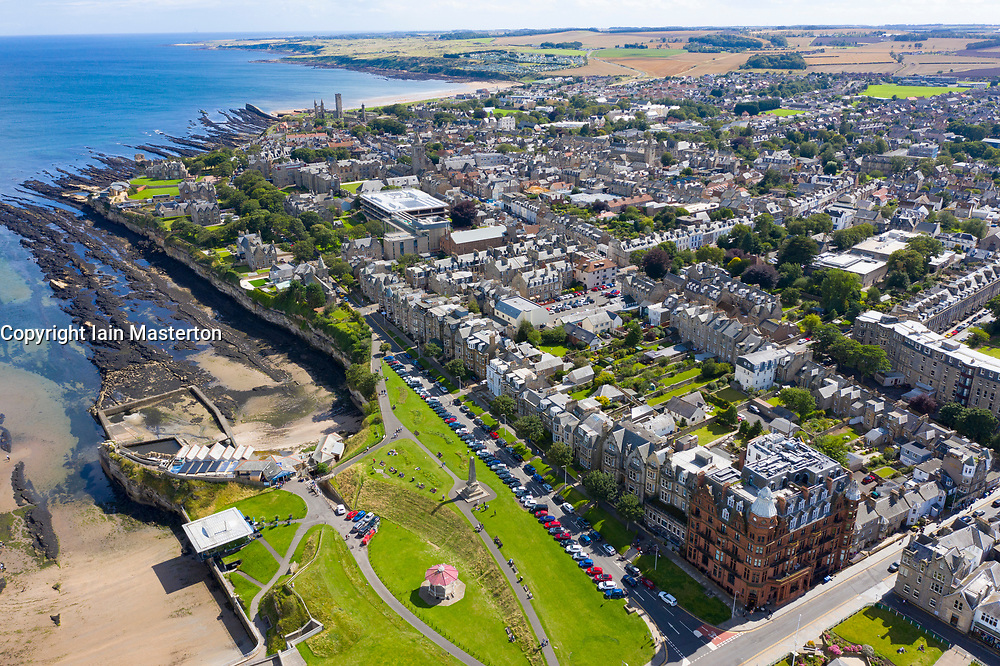 Aerial view of central St Andrews on Fife coast in Scotland, UK