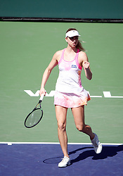 March 9, 2019 - Indian Wells, CA, U.S. - INDIAN WELLS, CA - MARCH 09: Mona Barthel (GER) reacts after winning a point during the second round of the BNP Paribas Open on March 09, 2019, at the Indian Wells Tennis Gardens in Indian Wells, CA. (Photo by Adam Davis/Icon Sportswire) (Credit Image: © Adam Davis/Icon SMI via ZUMA Press)