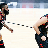 01 May 2017: Houston Rockets guard James Harden (13) brings the ball up court behind Houston Rockets forward Ryan Anderson (3) during the Houston Rockets 126-99 victory over the San Antonio Spurs, in game 1 of the Western Conference Semi Finals, at the AT&T Center, San Antonio, Texas, USA.
