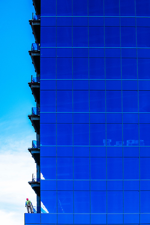 window installation in a commercial building