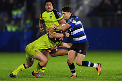 Adam Hastings of Bath Rugby takes on the Leicester Tigers defence - Mandatory byline: Patrick Khachfe/JMP - 07966 386802 - 04/11/2016 - RUGBY UNION - The Recreation Ground - Bath, England - Bath Rugby v Leicester Tigers - Anglo-Welsh Cup.