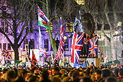 January 31, 2020, London, England, United Kingdom: Supporters of Brexit climb on to a statue of former British Prime Minster Winston Churchill in Parliament Square, at 11pm, as the UK leaves the European Union. 51. 9% of the UK population voted to leave the EU in a referendum in June 2016. (Credit Image: © Vedat Xhymshiti/ZUMA Wire)