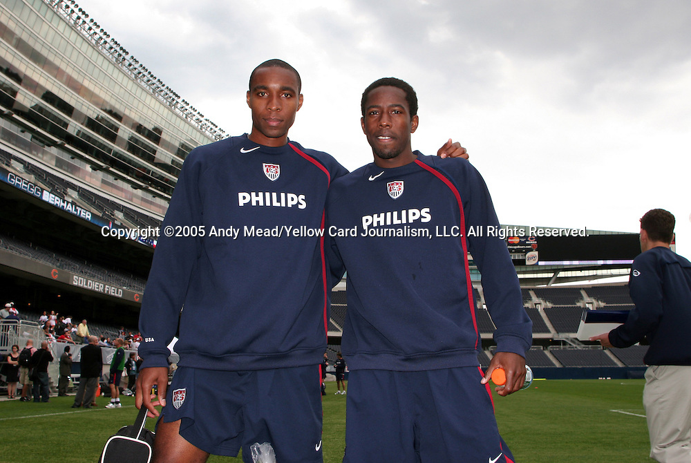27 May 2005: Eddie Pope (l) and Clyde Simms (r). The United States Men's National Team trained at Soldier Field in Chicago, Illinois one day before playing England in an international friendly game..
