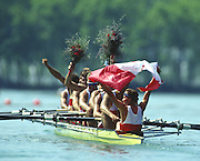 Banyoles, SPAIN, Gold Medalist,  CAN M8+.  Darren BARBER , Andy CROSBY , Mike FORGERON , Robert MARLAND , Derek PORTER , Michael RASCHER , Bruce ROBERTSON , John WALLACE , Terry PAUL (c),  awards dock and competing in the 1992 Olympic Regatta, Lake Banyoles, Barcelona, SPAIN. 92 Gold Medalist.   [Mandatory Credit: Peter Spurrier: Intersport Images]