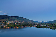 View of Vernon and Coldstream looking over Kalamalka Lake towards the Monashee Mountains of British Columbia, Canada