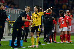 October 9, 2018 - Biel, SWITZERLAND - Belgium's head coach Ives Serneels, Belgium's Tessa Wullaert and in talks during a soccer game between Switzerland and Belgium's national team the Red Flames, Tuesday 09 October 2018, in Biel, Switzerland, the return leg of the play-offs qualification games for the women's 2019 World Cup. BELGA PHOTO DAVID CATRY (Credit Image: © David Catry/Belga via ZUMA Press)