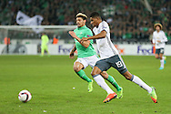 Marcus Rashford Forward of Manchester United battles with Saint-Etienne Defender Kevin Malcuit during the Europa League match between Saint-Etienne and Manchester United at Stade Geoffroy Guichard, Saint-Etienne, France on 22 February 2017. Photo by Phil Duncan.