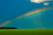wind turbines and rainbow<br />Somerset<br />Manitoba<br />Canada
