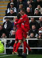 Photo: Andrew Unwin.<br /> Newcastle United v Liverpool. The Barclays Premiership. 19/03/2006.<br /> Liverpool's Peter Crouch (R) celebrates his goal with Harry Kewell (L).