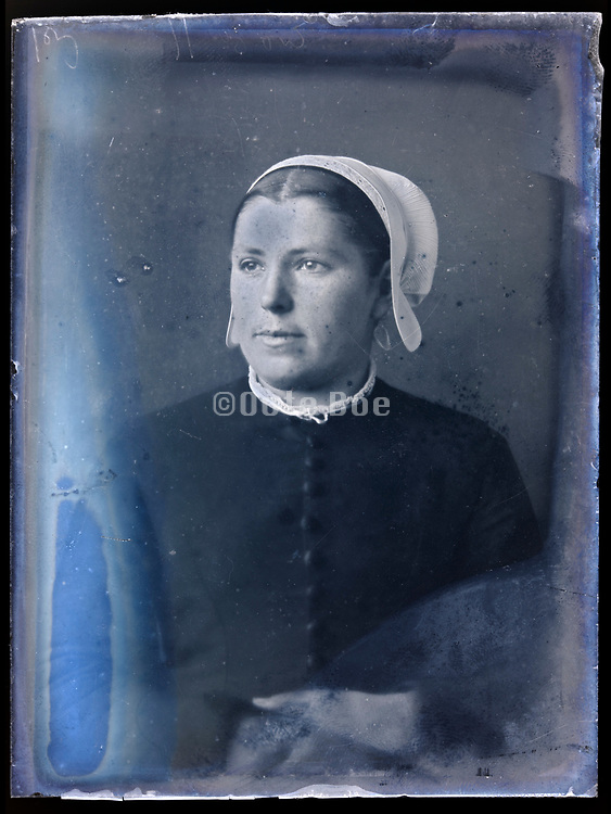 adult woman vintage portrait wearing a cap circa 1920s France Breton