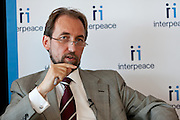 Interpeace launches the handbook: 'Constitution-making and reform: Options for the Process' a comprehensive resource for national constitution-makers and their advisors. His Royal Highness Prince Zeid Ra'ad Zeid Al-Hussein of Jordan, Permanent Representative of Jordan to the United Nations and Chair of the Peacebuilding Commission Country Configuration for Liberia. The book release took place at the United Nations on September 9, 2011 in New York. The event was photographed for Interpeace by Jeffrey Holmes, event photographer New York.