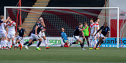Raith Rovers Kevin Nisbet (15) cele scoring their third goal. Airdrie 3 v 4 Raith Rovers, Scottish Football League Division One played 25/8/2018 at the Excelsior Stadium.