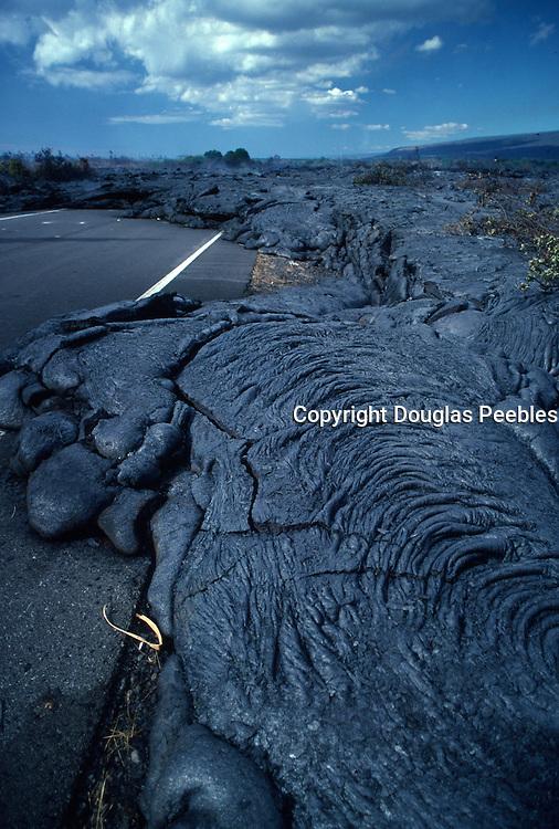 Lava over road, Kilauea Volcano, HVNP, Island of Hawaii<br />
