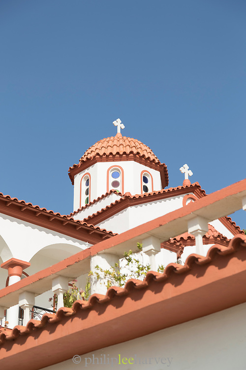 Architectural detail of Monastery of Agios Menas under blue sky, Neohori, Chios, Greece