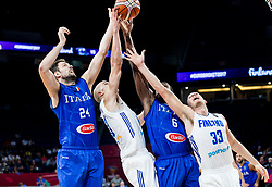 Filippo Baldi Rossi of Italy and Paul Biligha of Italy vs Shawn Huff of Finland and Erik Murphy of Finland during basketball match between National Teams of Finland and Italy at Day 10 in Round of 16 of the FIBA EuroBasket 2017 at Sinan Erdem Dome in Istanbul, Turkey on September 9, 2017. Photo by Vid Ponikvar / Sportida