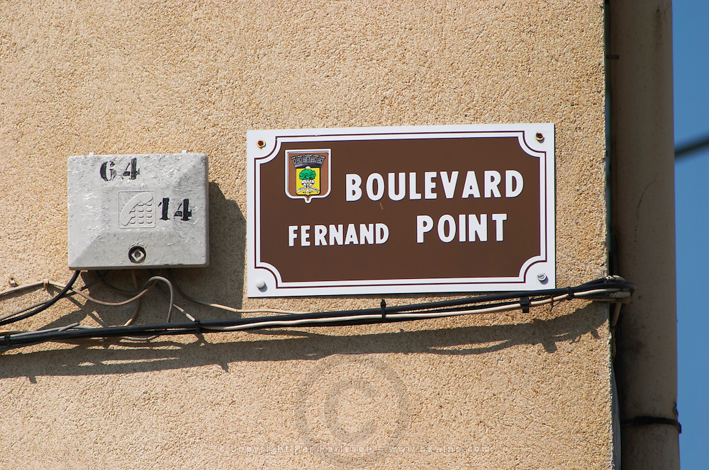 A street sign Boulevard Fernand Point named after the famous chef cook who had the restaurant La Pyramide in Vienne  Vienne, Isère Isere, France, Europe