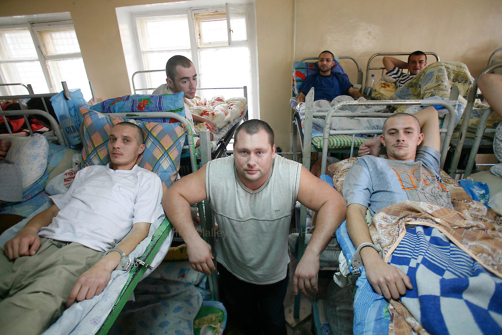 """Photo by Heathcliff Omalley..Yekaterinburg 7 November 2007.Pic shows Sergei """"Boxer"""" Kolesnichenko director of the  """"Clinic of the Yekaterinburg City without Drugs"""" founded  by Yevgeny Roizman, suspected ex-Russian Mafia and member of the Duma (Parliament) , where addicts are handcuffed to their beds for the first 27 days of their rehabilitation..Yekaterinburg was the site of the slaughter by Bolsheviks revolutionaries of the Tsar Nicholas and his family in 1918 and in the 1990's suffered from open Mafia warfare on it's streets but is now a thriving city once again."""