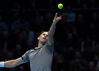 Tennis - 2019 Nitto ATP Finals at The O2 - Day One<br /> <br /> Singles Group Bjorn Borg: Roger Federer (Switzerland) vs. Dominic Thiem (Austria)<br /> <br /> Dominic Thiem (Austria) serves in the first set <br /> <br /> COLORSPORT/DANIEL BEARHAM