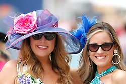 May 3, 2019 - Louisville, KY, U.S. - LOUISVILLE, KY - MAY 03: Race fans display their fancy hats on Kentucky Oaks day at Churchill Downs Racetrack on May 4, 2018 in Louisville, Kentucky. (Photo by Jeffrey Brown/Icon Sportswire) (Credit Image: © Jeffrey Brown/Icon SMI via ZUMA Press)