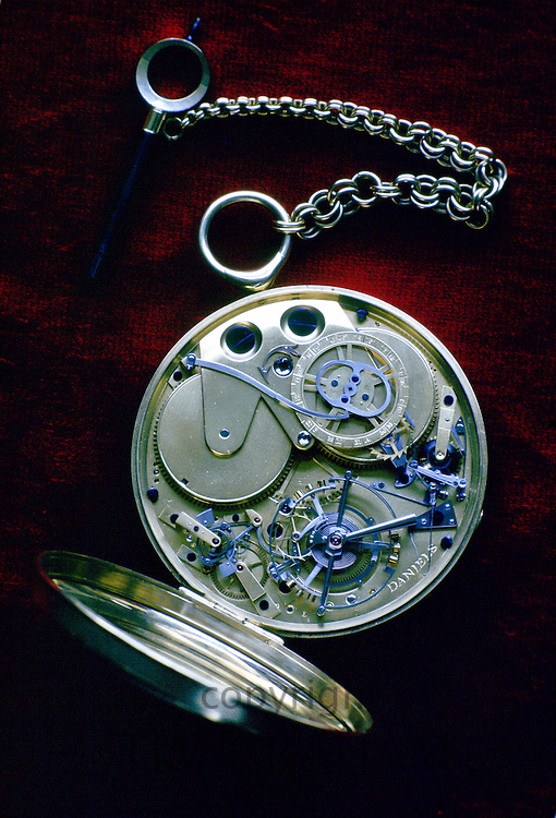 Inside workings of a Daniel's handmade pocket watch, United Kingdom
