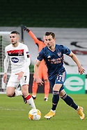 Cedric Soares of Arsenal scores his goal during the Europa League Group B match between Dundalk and Arsenal at Aviva Stadium, Dublin, Republic of Ireland on 10 December 2020.