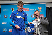 AFC Wimbledon defender Steve Seddon (15) during the EFL Sky Bet League 1 match between AFC Wimbledon and Accrington Stanley at the Cherry Red Records Stadium, Kingston, England on 6 April 2019.