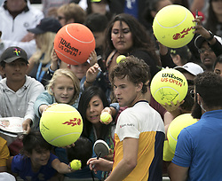 September 2, 2017 - Flushing Meadows, New York, U.S - Dominic Thiem signs autographs after winning his match on Day Six of the 2017 US Open with Adrian Mannarino at the USTA Billie Jean King National Tennis Center on Saturday September 2, 2017 in the Flushing neighborhood of the Queens borough of New York City.  Thiem defeats Mannarino, 6-3, 7-5, 6-4. (Credit Image: © Prensa Internacional via ZUMA Wire)