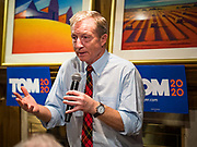 13 JANUARY 2020 - WEST DES MOINES, IOWA: TOM STEYER speaks to a crowd of about 70 people at a house party in West Des Moines Monday night. The main issue was climate change, which Steyer has said is his top priority. Steyer, a California businessman, is campaigning to be the Democratic nominee for the US Presidency in 2020. Iowa holds the first selection event of the 2020 election cycle. The Iowa Caucuses are Feb. 3, 2020.               PHOTO BY JACK KURTZ