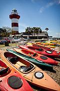 Kayaks and Harbour Town Lighthouse at Sea Pines Resort Hilton Head Island, GA.