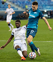 SAINT-PETERSBURG, RUSSIA - OCTOBER 20: Amadou Sagna of Club Brugge KV tussles with Andrei Mostovoy of Zenit St Petersburg during the UEFA Champions League Group F match between Zenit St Petersburg and Club Brugge KV at Gazprom Arena on October 20, 2020 in Saint-Petersburg, Russia [Photo by MB Media]