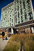 The elevated park known as the High Line which runs under the Standard Hotel in Meatpacking District of New York City.