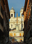 View of the Trinità dei Monti church located at the top of the Spanish Steps. Rome. Italy 2013
