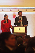 New York, NY-January 31: (L-R) Dr. Juliane Malveaux and Rev. Jesse Jackson, Founder, Rainbow PUSH attends ' the Access to Capital ' Luncheon held during the 16th Annual Wall Street Project Economic Summit held at the Roosevelt Hotel on January 31, 2013 in New York City. The Rainbow PUSH Coalition is a progressive organization protecting, defending and expanding civil rights to improve economics and educational opportunity.  (Terrence Jennings)
