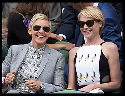 July 9, 2016 - London, United Kingdom - Image licensed to i-Images Picture Agency. 09/07/2016. London, United Kingdom. Ellen DeGeneres and Portia de Rossi in the Royal box arriving on day twelve of the Wimbledon Tennis Championships in London.  Picture by Stephen Lock / i-Images (Credit Image: © Stephen Lock/i-Images via ZUMA Wire)